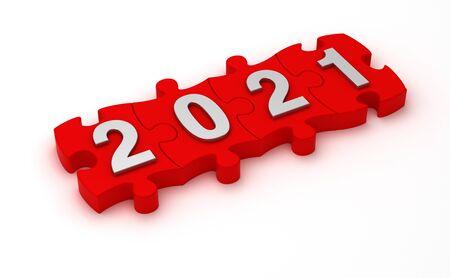 Solution 2021 (Isolated on white background) Standard-Bild