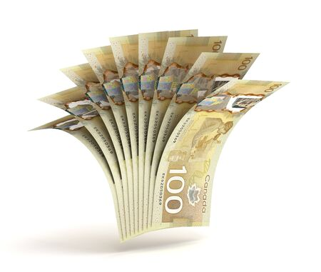 Many Canadian Dollars (Isolated by clipping path) Banque d'images
