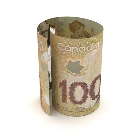 Canadian Dollar in rolls (Isolated by clipping path)