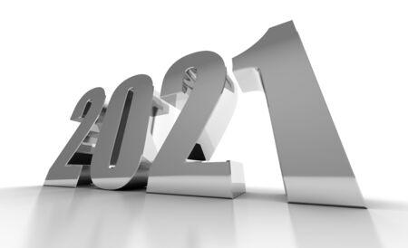 New Year 2021 on White Bacground