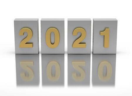 New Year 2021 and old 2020 on white background Standard-Bild