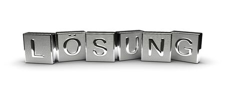 Metal Lösung Text (isolated on white background) Banque d'images