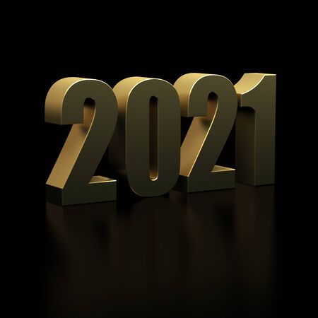 New Year 2021 on Black Bacground Standard-Bild