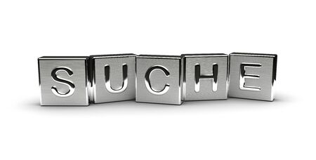 Metal Suche Text (isolated on white background)
