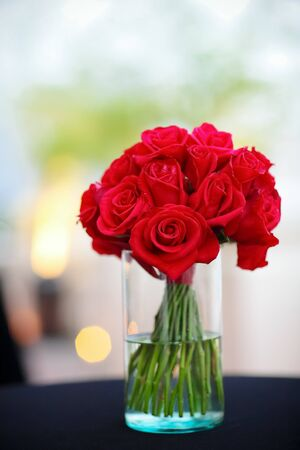 red rose flower in a vase photo