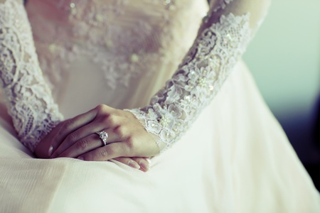 pretty dress: Diamond Ring with embroidered lace wedding dress nicely Stock Photo