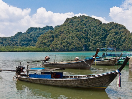 Long tail boat taxi in thailand photo