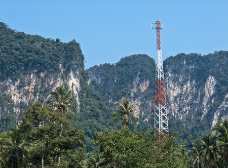 Transmission towers in the mountains. photo