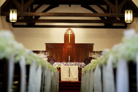 pews: Church  wedding decorate aisle with flowers  Editorial
