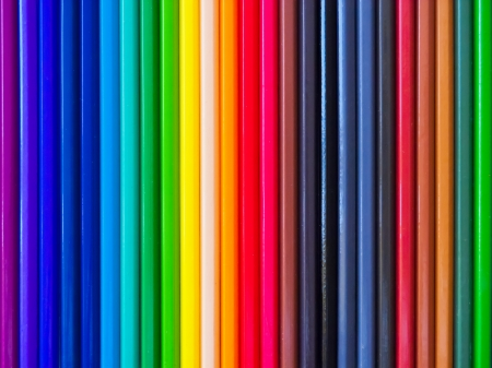 Color pencil in a color chart is horizontal  photo