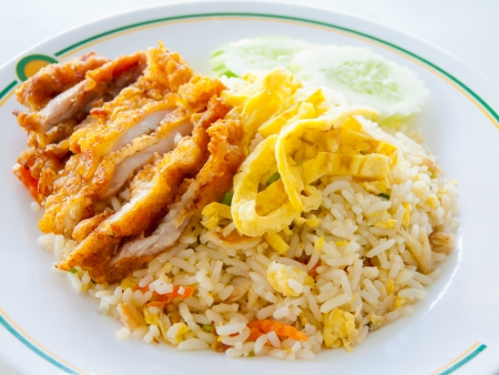 chicken rice: Chicken fried rice with egg  Stock Photo