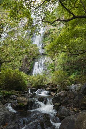 Beautiful Klong Lan waterfall in the deep forest at Khlong Lan National Park, Thailand, Kamphaeng Phet Province, Thailand. Zdjęcie Seryjne