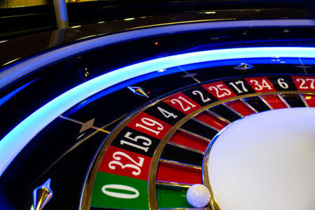 traditional roulette wheel, handmade with classic look Stock Photo