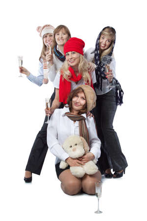 girls at new year party stay in one line Stock Photo - 17405588