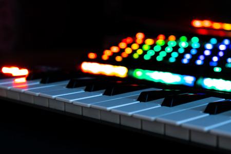 Music keyboard with RGB keyboard Stock Photo