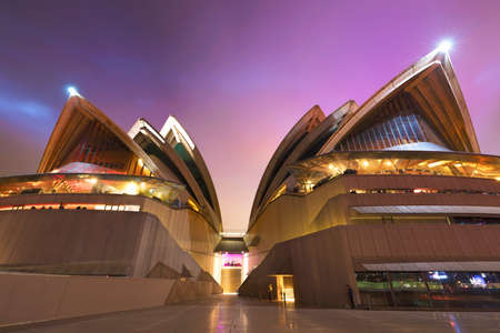 SYDNEY, AUSTRALIA - JUNE 02, 2018: Close up view of the iconic Sydney Opera House at night during Vivid festival. Vivid Sydney is the world's largest festival of light, music and ideas.