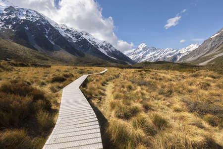 Hooker Valley Track in Mt Cook National Park, New Zealand Imagens