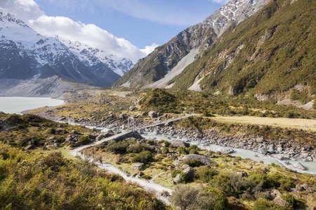 Suspension bridge on Hooker Valley track in Mt Cook National Park, New Zealand