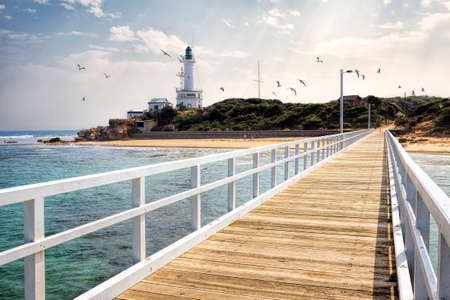 Point Lonsdale jetty, Bellarine Peninsula, Victoria, Australia 免版税图像