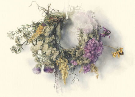 Illustration of colorful wildflowers braided in a wreath, against off-white background