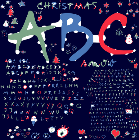 evoking: Alphabet   Winter  -  Alternative alphabet and design elements based on handwriting, evoking frosty winter atmosphere, snow and holiday Illustration