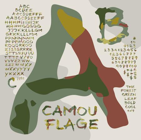 evoking: Alphabet    Camouflage   - Alternative alphabet  based on handwriting, evoking forest environment