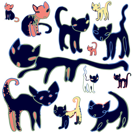 Cats -   Hand drawn vector illustration of funny cats, each on different layer Imagens - 26615646