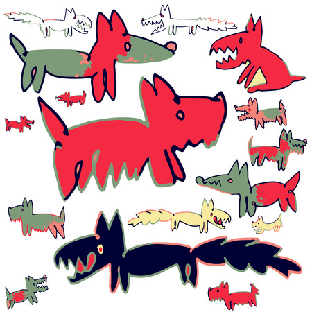 Dogs -  Hand drawn vector illustration of funny dogs, each on different layer