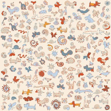 Funny animals - background  Hand drawn vector illustration of funny animals Ilustração