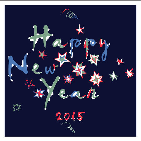 Happy New Year - greeting card  2  Hand drawn vector illustration of snow and frost covered text and stars, celebrating the new year 2015