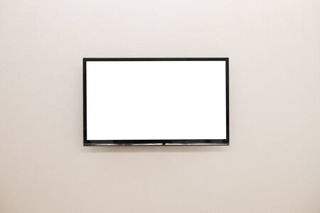 LED TV blank white screen on the wall for design, advertising design concept. Stock Photo