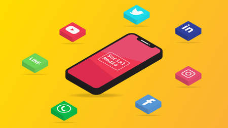 Social Media icon and smartphone isometric background on yellow.