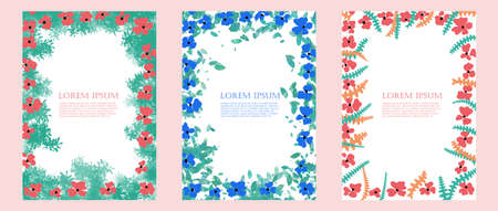 Set of templates with floral and geometric elements. Suitable for social media posts, mobile apps, banners design and web/internet ads. Vector. 向量圖像