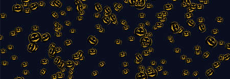 Pumpkin pattern on black background, Halloween Poster, night background with pumpkins, illustration. Greeting card halloween celebration, halloween party poster.