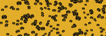 Pumpkin pattern on yellow background, Halloween Poster, night background with pumpkins, illustration. Greeting card halloween celebration, halloween party poster.