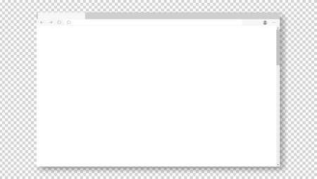 Empty browser window on transparent background. Empty web page mockup with toolbar Vektorgrafik