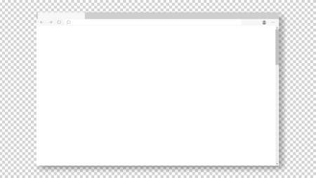 Empty browser window on transparent background. Empty web page mockup with toolbar Vetores