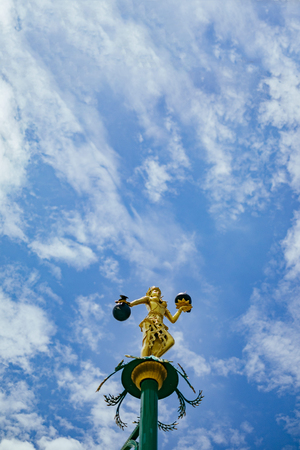blu sky: Lamp in thai traditional style with clear blu sky.