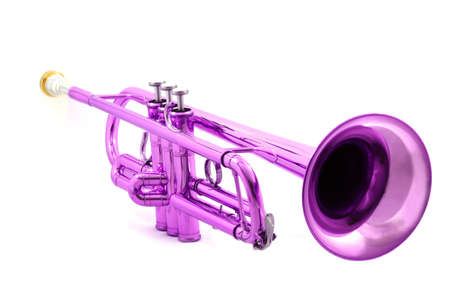 mouthpiece: violet lacquer trumpet with mouthpiece isolated on white Stock Photo