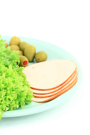 meat alternatives: Fresh green salad and olives in a plate close up as healthy food alternative Stock Photo