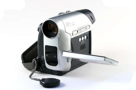 Amateur video camera isilated on a white