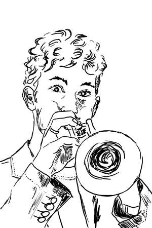 trumpet player: Trumpet player drawn with a graphic tablet Stock Photo
