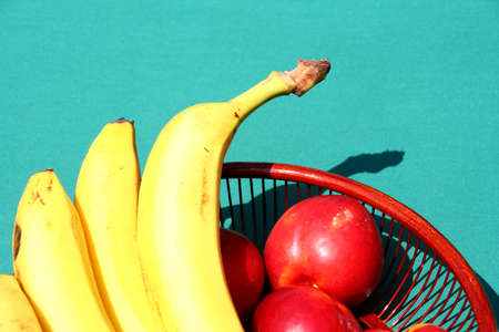 hamper: Fruits hamper on a blue  Stock Photo