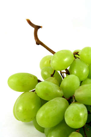 sweet pulp: Green ripe grape on white and a bit of shadow