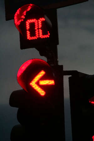 traffic red light with count-down at zero in late evening