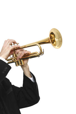 trumpet player: Trumpet player in a luxury suit and his trumpet