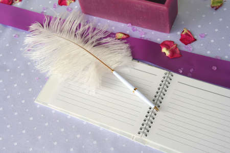 wedding guest: Pink notebook and a feather pen on a wedding guest table Stock Photo