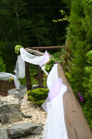 Wedding decorations in a full nature location