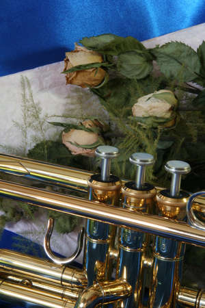 Gold lacquer trumpet valves and old sere roses on blue satin  Stock Photo