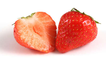 strawberry close-up in section on white background Stock Photo